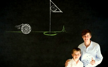 Thumbs up boy business man and teacher with chalk golf ball flag green